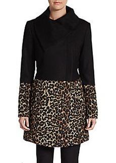 Saks Fifth Avenue BLACK Colorblock Animal-Print Coat