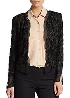 Saks Fifth Avenue BLACK Cropped Lace Jacket