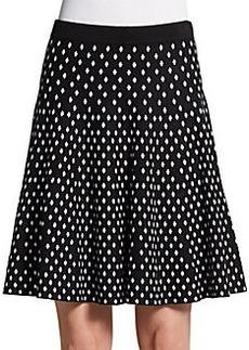 Saks Fifth Avenue BLACK Diamond Jacquard A-Line Skirt