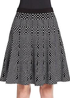 Saks Fifth Avenue BLACK Diamond Jacquard Swing Skirt