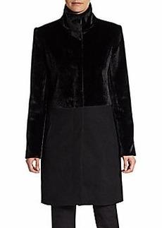 Saks Fifth Avenue BLACK Faux Fur & Woven Combo Coat