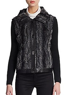 Saks Fifth Avenue BLACK Faux Fur-Paneled Knit Jacket