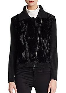 Saks Fifth Avenue BLACK Faux Fur-Paneled Knit Moto Jacket