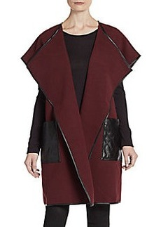 Saks Fifth Avenue BLACK Faux Leather Accented Shawl Jacket