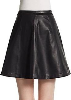Saks Fifth Avenue BLACK Faux Leather Skater Skirt