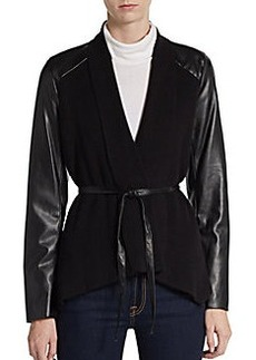 Saks Fifth Avenue BLACK Faux Leather-Sleeve Combo Wrap Jacket