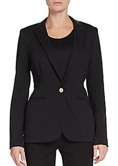 Saks Fifth Avenue BLACK Faux Leather-Trimmed Blazer