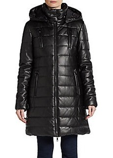 Saks Fifth Avenue BLACK Faux Leather Vegan Puffer Coat