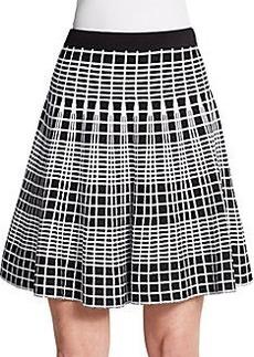 Saks Fifth Avenue BLACK Flared Knit Grid Skirt
