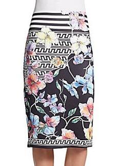 Saks Fifth Avenue BLACK Floral-Print Scuba Pencil Skirt