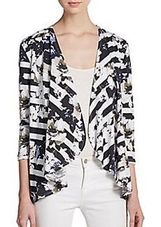 Saks Fifth Avenue BLACK Floral-Print Stripe Cardigan