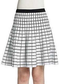 Saks Fifth Avenue BLACK Grid Jacquard Skater Skirt