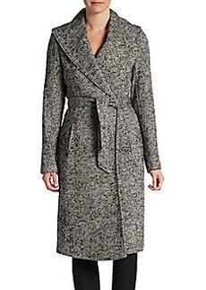 Saks Fifth Avenue BLACK Herringbone Blanket Coat