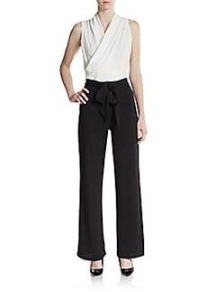 Saks Fifth Avenue BLACK Jacquard Belted Jumpsuit
