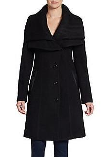Saks Fifth Avenue BLACK Knit Collar Wool Coat
