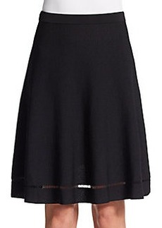 Saks Fifth Avenue BLACK Open-Weave Detailed A-Line Skirt