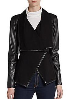 Saks Fifth Avenue BLACK Ponte & Faux Leather Asymmetrical Jacket