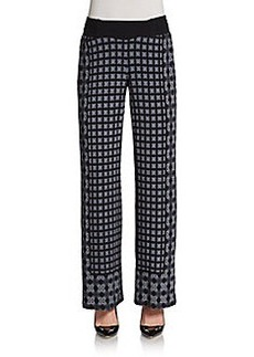 Saks Fifth Avenue BLACK Printed Crepe Pants