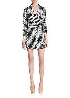 Saks Fifth Avenue BLACK Printed Wrap Front Short Jumpsuit