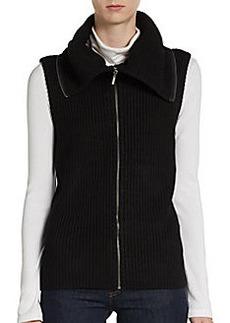 Saks Fifth Avenue BLACK Ribbed Knit Vest