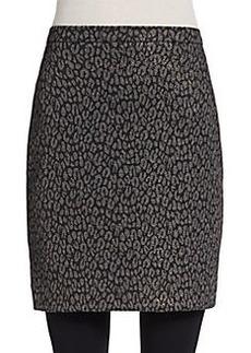 Saks Fifth Avenue BLACK Shimmer Knit Leopard-Print Skirt