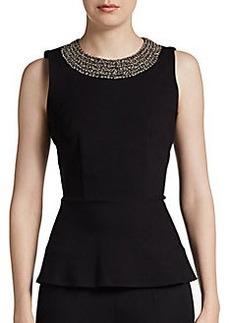 Saks Fifth Avenue BLACK Sleeveless Beaded Peplum Top
