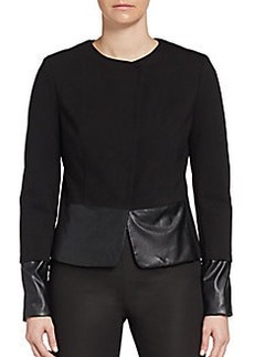 Saks Fifth Avenue BLACK Snap-Front Faux-Leather Trimmed Jacket