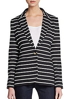Saks Fifth Avenue BLACK Striped Jersey Blazer