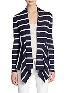 Saks Fifth Avenue BLACK Striped Open-Front Cardigan