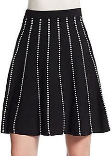 Saks Fifth Avenue BLACK Striped Swing Skirt