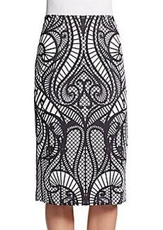 Saks Fifth Avenue BLACK Swirl-Print Scuba Pencil Skirt