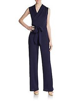Saks Fifth Avenue BLACK Textured Faux Wrap Jumpsuit