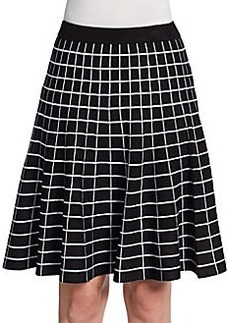 Saks Fifth Avenue BLACK Windowpane Knit Flare Skirt