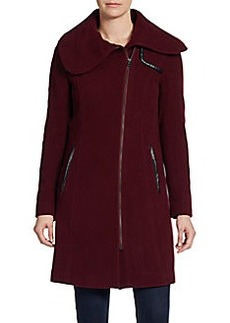 Saks Fifth Avenue BLACK Wool-Blend Contrast-Trim Coat