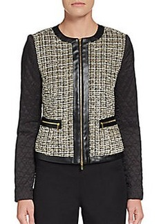Saks Fifth Avenue BLACK Zip-Front Boxy Jacket
