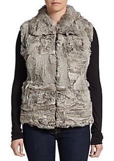 Saks Fifth Avenue BLACK Zip-Front Rabbit Fur Vest