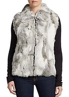 Saks Fifth Avenue BLACK Zip Front Rabbit Fur Vest/Light Grey