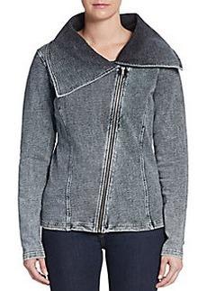 Saks Fifth Avenue BLUE Asymmetrical Moto Jacket
