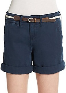 Saks Fifth Avenue BLUE Belted Cuff Shorts
