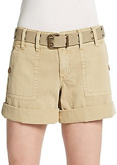 Saks Fifth Avenue BLUE Belted Flap Pocket Shorts