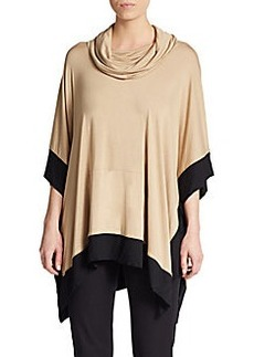 Saks Fifth Avenue BLUE Colorblock Jersey Poncho