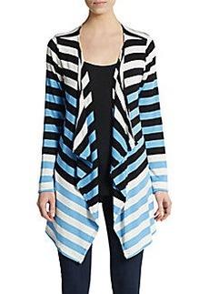 Saks Fifth Avenue BLUE Colorblock Stripe Cardigan