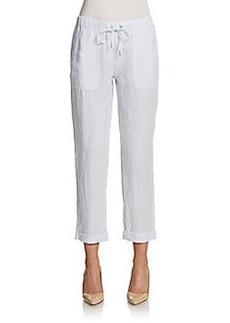 Saks Fifth Avenue BLUE Cropped Linen Drawstring Pants