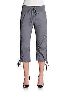 Saks Fifth Avenue BLUE Cropped Stretch Poplin Tie Pants