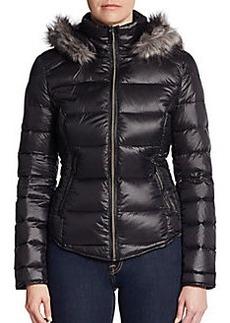 Saks Fifth Avenue BLUE Faux Fur-Trimmed Nylon Puffer Jacket