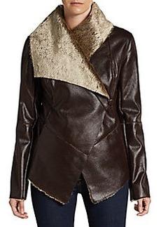 Saks Fifth Avenue BLUE Faux-Shearling Draped Jacket