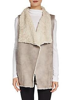 Saks Fifth Avenue BLUE Faux Shearling Open Vest