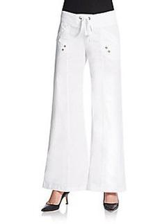 Saks Fifth Avenue BLUE Flared Stretch-Poplin Pants