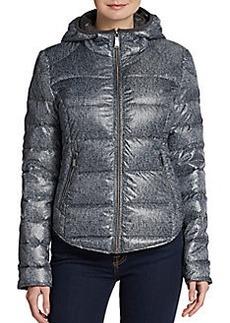 Saks Fifth Avenue BLUE Herringbone-Print Puffer Jacket