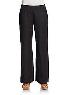 Saks Fifth Avenue BLUE Linen Flare-Leg Pants